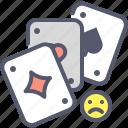 cards, entertain, game, jackpot, sad