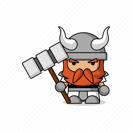 app, armor, avatar, axe, character, dwarf, fantasy, game, helmet, mascot, medieval, people, person, warrior icon