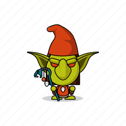 avatar, character, dangerous, game, gnome, goblin, gremlin, hobgoblin, imp, mascot, monster, orc, people, stick, wand icon