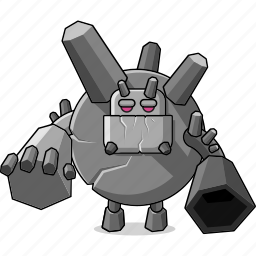 avatar, cannon, character, dangerous, fantasy, game, giant, golem, mascot, medieval, monster, people, person, rock, stone icon