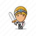 avatar, character, fantasy, fight, game, knight, mascot, medieval, paladin, people, person, prince, shield, sword, warrior icon
