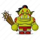 avatar, character, club, dangerous, fantasy, game, hammer, helmet, mascot, medieval, monster, orc, people, person, tribal icon