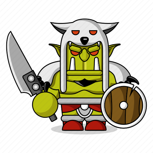 avatar, character, dangerous, fantasy, game, helmet, mascot, medieval, monster, orc, people, person, sword icon