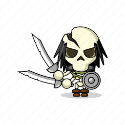avatar, bones, character, dead, death, fantasy, game, living dead, magic, mascot, medieval, people, person, scary, shield, skeleton, sword, zombie icon
