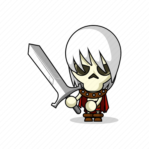 avatar, bones, character, dead, death, fantasy, game, living dead, magic, mascot, medieval, people, person, scary, skeleton, skull, sword, zombie icon