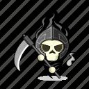 scary, death, magic, medieval, skull, people, character, scythe, dead, zombie, fantasy, game, person, avatar, sword, bones, skeleton, living dead, mascot