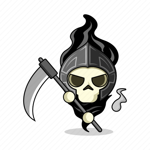 avatar, bones, character, dead, death, fantasy, game, living dead, magic, mascot, medieval, people, person, scary, scythe, skeleton, skull, sword, zombie icon