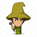 avatar, character, fantasy, game, magic, mascot, medieval, people, person, power, sorcerer, wand, witch, wizard, young icon