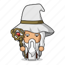 avatar, beard, character, fantasy, game, magic, mascot, medieval, old, people, person, power, sorcerer, wand, witch, wizard icon