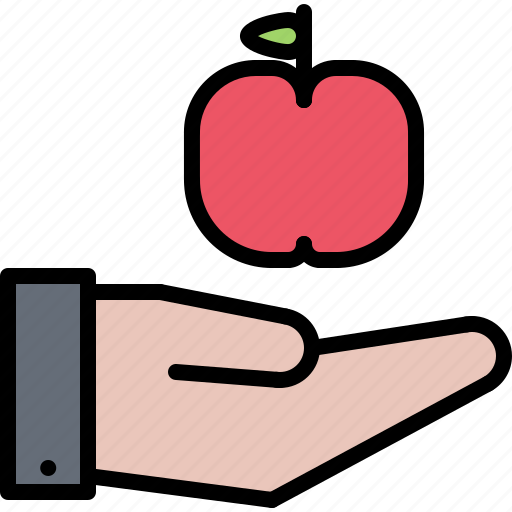 apple, farm, farmer, garden, gardener, hand, support icon