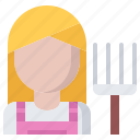 farm, farmer, garden, gardener, pitchfork, woman icon