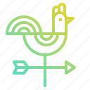 farm, gardening, rooster, vane, weathercock, wind icon