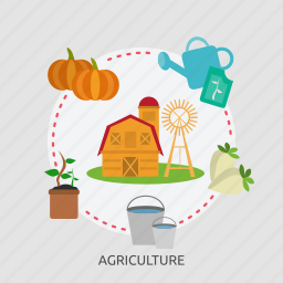 agriculture, bucket, farm house, onion, pumpkin, sprout, windmill icon