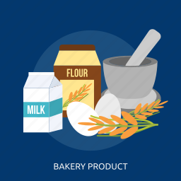 bakery product, egg, flour, food, industry, milk, wheat icon
