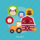 cage, cattle, chicken, collect, cow, sheep, tractor icon