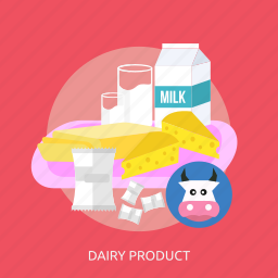 bread, candy, cheese, cow, dairy product, glass, milk icon
