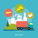 agriculture, bread, cheese, egg, industry, tree, truck icon