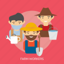 agriculture, bucket, farm workers, farmer, farming, flush, shovel icon
