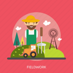 agriculture, farmer, fieldwork, nature, tractor, tree, windmill icon