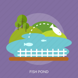 agriculture, fence, fish, fish pond, nature, pond, tree icon