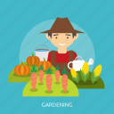 agriculture, cabbage, carrot, corn, farmer, flush, gardening icon