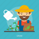 farmer, flush, grow, manure, nature, sprout, straw icon