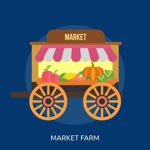 cabbage, carrot, cart, corn, market farm, pumpkin, vegetable icon