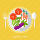 carrot, eggplant, food, organic, spoon, tomato, vegetable icon