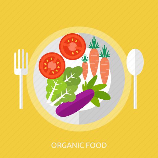 carrot, eggplant, food, organic, spoon, tomato, vegetable icon