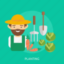 agriculture, cabbage, carrot, farmer, planting, straw, vegetable icon