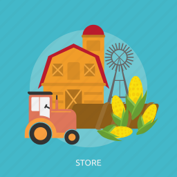 agriculture, cage, corn, harvest, store, tractors, windmills icon