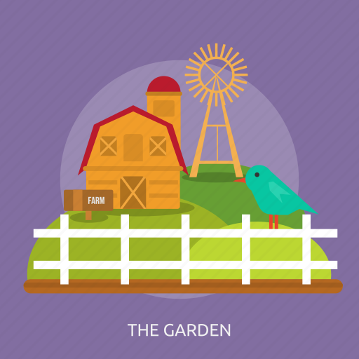 birds, cage, farm, farming, fence, the garden, windmill icon