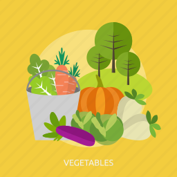 agriculture, buckets, cabbage, carrot, eggplant, tree, vegetables icon