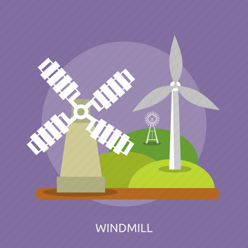 agriculture, grass, green, land, landscape, nature, windmill icon