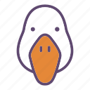 bird, duck, farm, goose, head icon