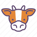 animal, cattle, cow, farm, head icon
