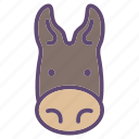 animal, donkey, farm, head icon