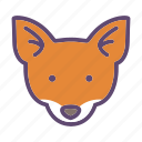 animal, farm, fox, head icon