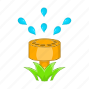 cartoon, garden, grass, spray, sprinkler, water, wet icon