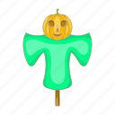 autumn, cartoon, halloween, pumpkin, scarecrow, straw icon