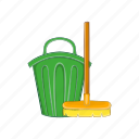 bucket, can, cartoon, cleaner, mop, tool, trash icon
