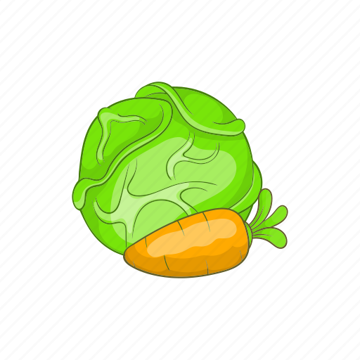 cabbage, carrot, cartoon, farm, food, green, vegetable icon