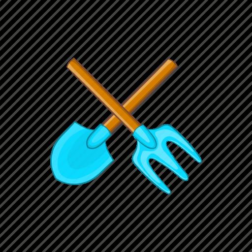 cartoon, equipment, garden, gardening, pitchfork, tool icon
