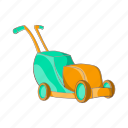 cartoon, equipment, garden, gardening, grass, lawn, mower icon