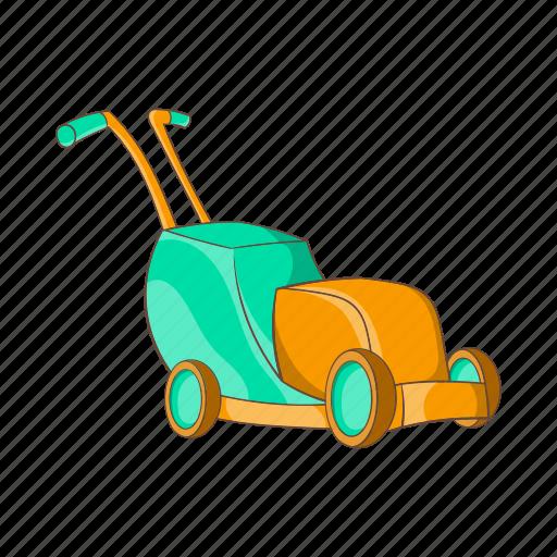 cartoon, equipment, garden, gardening, grass, lawn, mower icon