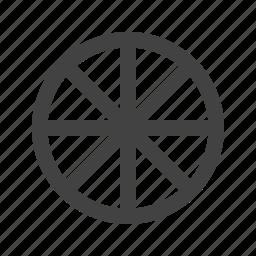 antique, carriage, farm, round, wheel, wood, wooden icon