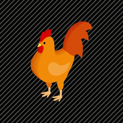 bird, chicken, domestic, hen, isometric, livestock, poultry icon