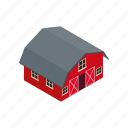barn, door, farm, house, isometric, red, wooden icon