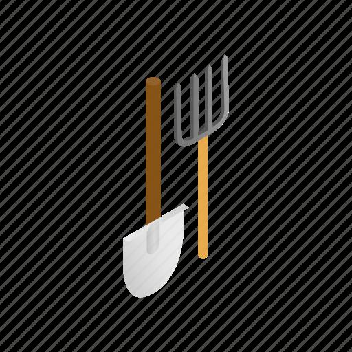 equipment, garden, gardening, isometric, pitchfork, shovel, tool icon