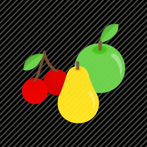 apple, cherry, fresh, fruit, isometric, pear, vitamin icon